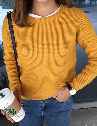 Damen Standard Pullover-Lässig/Alltäglich Solide Rundhalsausschnitt Langarm Königskaninchen-Pelz Mittel Mikro-elastisch