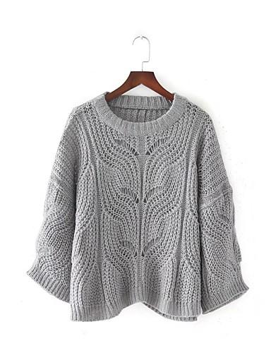 Damen Kurz Pullover-Lässig/Alltäglich Arbeit Solide Rundhalsausschnitt Langarm Baumwolle Andere Mittel Dick Dehnbar