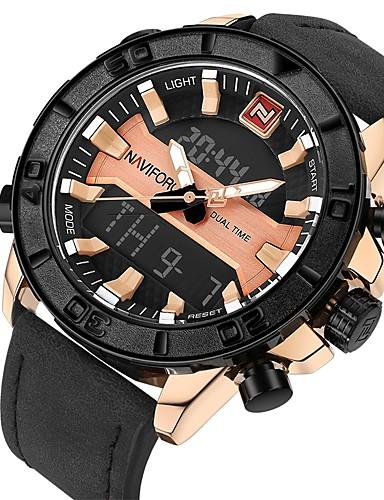 Męskie Kwarcowy Zegarek cyfrowy Zegarek na nadgarstek Wojskowy Chiński Kalendarz Chronograf Wodoszczelny Skóra naturalna Pasmo Luksusowy