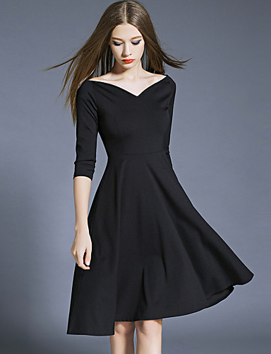 Damen Ausgehen Hülle Kleid Solide Midi V-Ausschnitt Hohe Taillenlinie