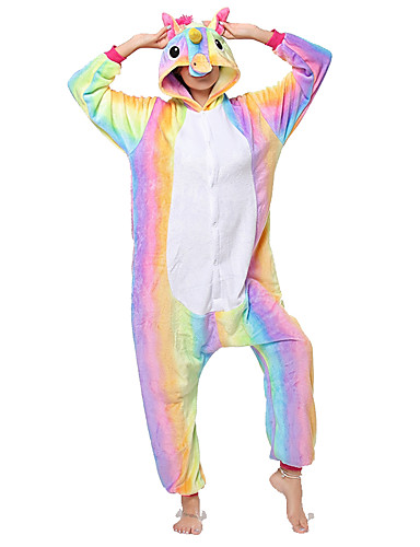cheap Kigurumi Pajamas-Adults' Cosplay Costume Kigurumi Pajamas Unicorn Flying Horse Pony Onesie Pajamas Flannel Fabric Rainbow Cosplay For Men and Women Animal Sleepwear Cartoon Festival / Holiday Costumes