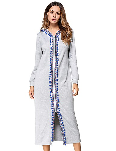 Damen Tunika Kleid Solide Midi