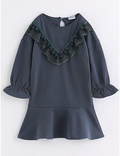 Dzieci Dla dziewczynek Aktywny Jendolity kolor Długi rękaw Sukienka / Bawełna
