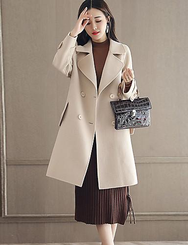 Damen Solide Street Schick Ausgehen Standard Mantel Winter Herbst Kaschmir Polyester