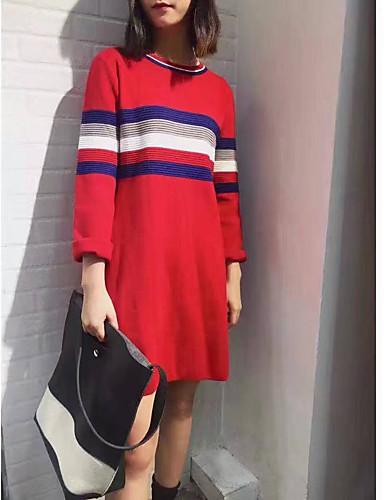Damen Tunika Kleid-Alltag Gestreift Rundhalsausschnitt Übers Knie Langarm Wolle Winter Herbst Mittlere Hüfthöhe Mikro-elastisch Mittel