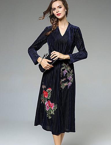 Damen Swing Kleid-Ausgehen Solide V-Ausschnitt Midi Langarm Acryl Mittlere Hüfthöhe Mikro-elastisch Undurchsichtig
