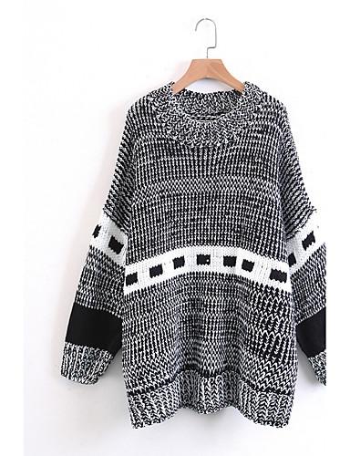 Damen Standard Pullover-Lässig/Alltäglich Ausgehen Druck Rundhalsausschnitt Langarm Baumwolle Andere Mittel Dünn Mikro-elastisch
