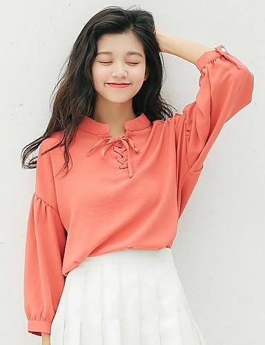 Damen Solide - Aktiv Baumwolle Hemd, Ständer