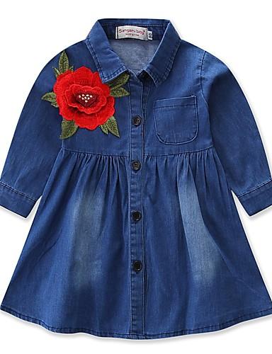 Sukienka Poliester Dziewczyny Codzienny Wyjściowe Jendolity kolor Haft Jesień Wiosna, jesień, zima, lato Długi rękaw Na co dzień Aktywny