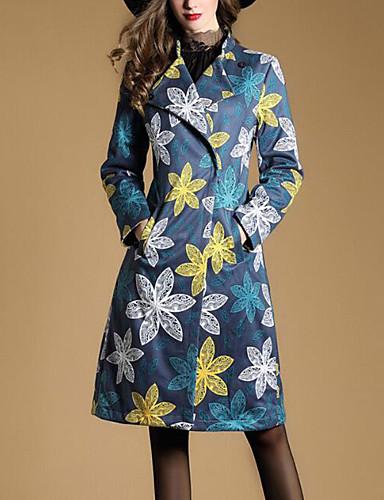 Damen - Blumenmuster Einfach Ausgehen Mantel, Hemdkragen Baumwolle
