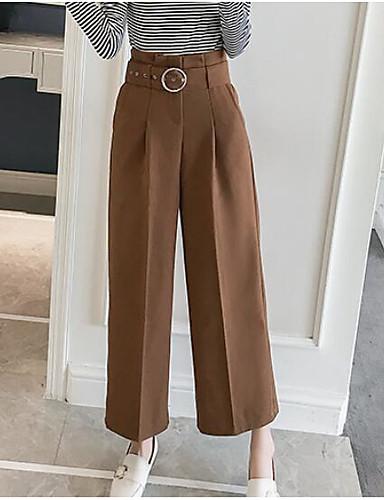 Damskie Vintage Spodnie szerokie nogawki Spodnie Jendolity kolor / Jesień / Zima