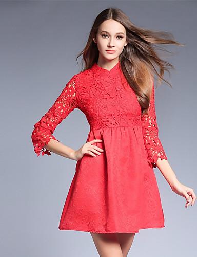 Damen A-Linie Kleid-Ausgehen Solide Ständer Übers Knie 3/4 Ärmel Polyester Mittlere Hüfthöhe Mikro-elastisch Mittel
