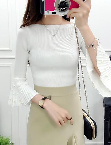 Damen Standard Strickjacke-Lässig/Alltäglich Ausgehen Solide U-Ausschnitt 3/4 Ärmel Polyester Mittel Mikro-elastisch