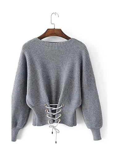 Damen Kurz Pullover-Ausgehen Lässig/Alltäglich Solide Rundhalsausschnitt Langarm Baumwolle Andere Dünn Mikro-elastisch