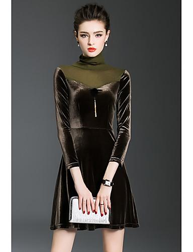 Damen Ausgehen Hülle Kleid Solide Übers Knie Rollkragen Hohe Taillenlinie
