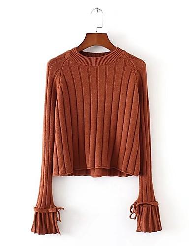 Damen Standard Pullover-Lässig/Alltäglich Ausgehen Solide Rundhalsausschnitt Langarm Andere Dick Mikro-elastisch