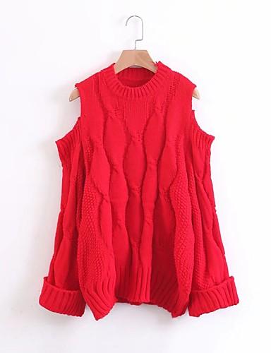 Damen Standard Pullover-Ausgehen Lässig/Alltäglich Solide Schulterfrei Langarm Wolle Baumwolle Andere Mittel Dick Mikro-elastisch