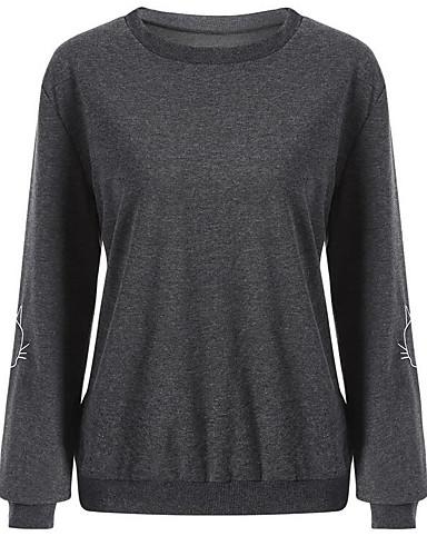 Damen Ausgehen Pullover Solide Baumwolle
