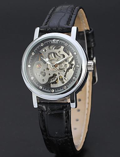 WINNER Damskie Nakręcanie automatyczne Zegarek na nadgarstek Hollow Grawerowanie Skóra Pasmo Vintage Na co dzień Do sukni / garnituru