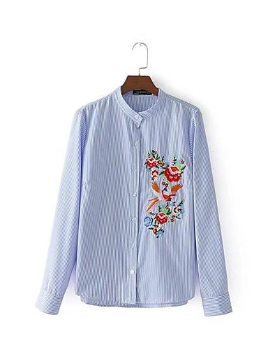 Damen Gestreift Stickerei Ausgehen Lässig/Alltäglich Hemd,Ständer Langarm Baumwolle Mittel
