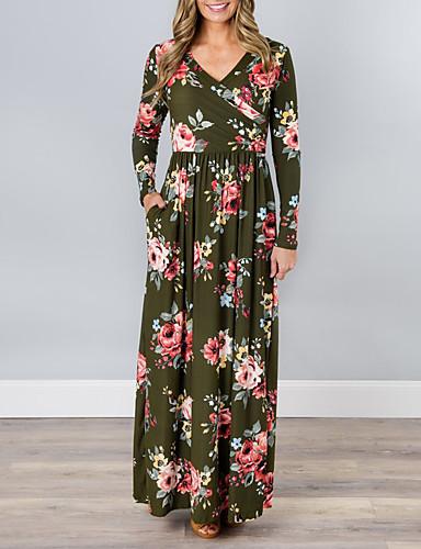 Damskie Sukienka swingowa Sukienka - Nadruk W serek Maxi