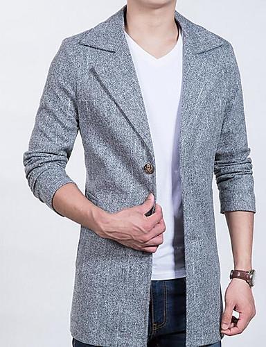 Herren Solide Einfach Lässig/Alltäglich Mantel Herbst Standard Baumwolle Kunstseide Polyester
