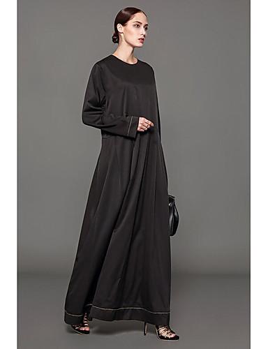 Damen Abaya Kleid-Lässig/Alltäglich Solide Rundhalsausschnitt Maxi Langarm Polyester Winter Mittlere Taillenlinie Unelastisch