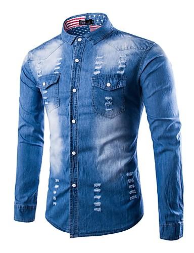 Rozmiar plus Koszula Męskie Vintage, Podarte Jendolity kolor Bawełna