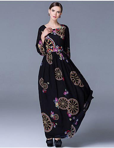 Damen Swing Kleid-Alltag Stickerei Rundhalsausschnitt Maxi Langarm Polyester Frühling/Herbst Mittlere Hüfthöhe Mikro-elastisch Mittel