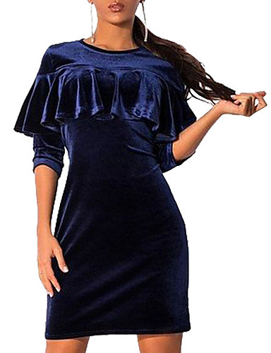 Damen Freizeit Aufflackern-Hülsen- Bodycon Kleid - Rüsche, Solide Übers Knie
