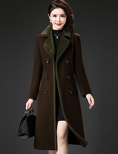 Płaszcz Damskie Wyrafinowany styl Moda miejska Jendolity kolor Wielokolorowa Kaszmir Poliester
