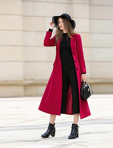 Płaszcz Damskie Vintage Moda miejska Praca Kołnierzyk koszuli Jendolity kolor Kaszmir Wełna Poliester