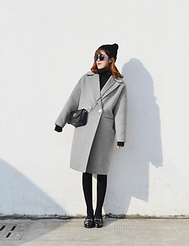 Damen - Solide Einfach / Freizeit Mantel Wolle / Baumwolle / Herbst / Winter