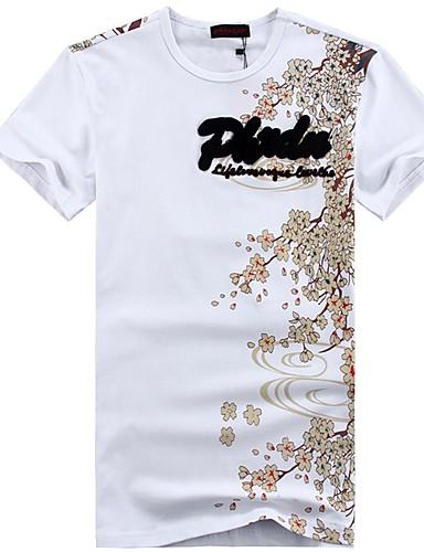 voordelige Heren T-shirts & tanktops-Heren Chinoiserie Geborduurd / Print T-shirt Katoen Ronde hals Wit / Korte mouw / Zomer
