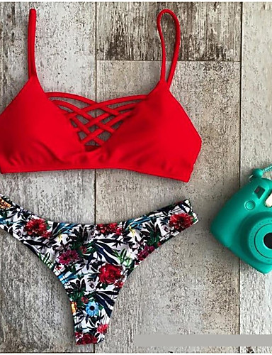 Dames Dierenprint Halter Bikini Zwemkleding Bloemen,Rood
