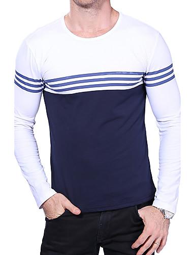 Rozmiar plus T-shirt Męskie Okrągły dekolt Prążki Bawełna