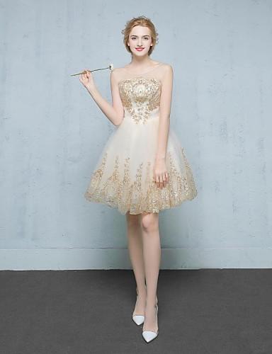 A-Linie Illusionsausschnitt Kurz / Mini Spitze Satin Tüll Cocktailparty Kleid mit Applikationen durch TS Couture®