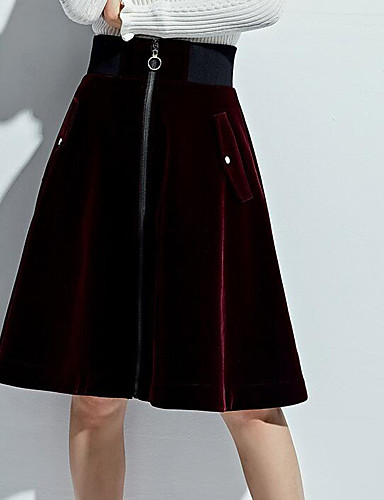 Damen Über dem Knie Röcke A-Linie einfarbig
