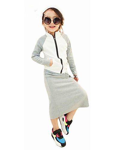 Komplet odzieży Bawełna Dla dziewczynek Jendolity kolor Prosty Na każdy sezon Długi rękaw Na co dzień Moda miejska Gray