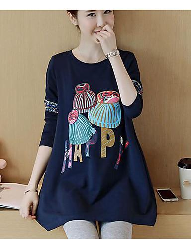 Damen Freizeit Pullover Solide / Druck Baumwolle