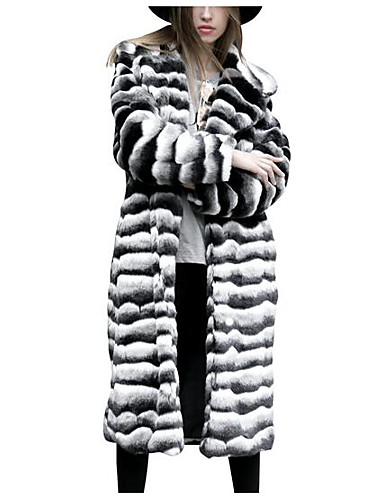 Damen - Einfarbig Grundlegend Ausgehen Übergrössen Pelzmantel Lose / Winter