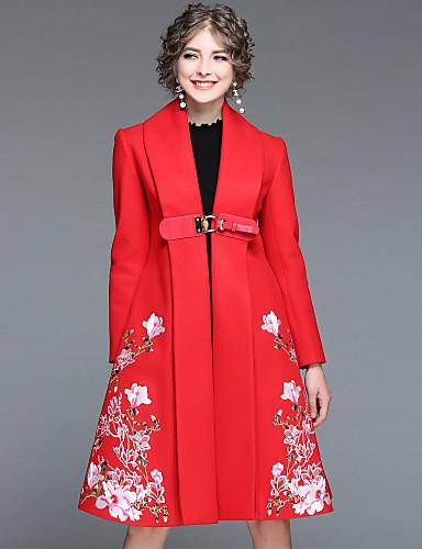 Płaszcz Długi Damskie Moda miejska Zima Jesień Codzienny Wyjściowe Kwiaty Haftowane Futro Poliester 100% Polyester Elastan