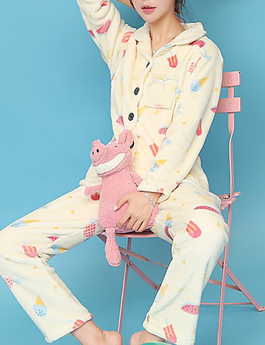 Damen Baumwolle Anzüge Pyjamas Natur