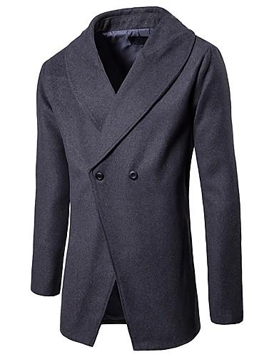 Herrn Solide Retro Alltag Freizeitskleidung Lang Mantel, Hemdkragen Frühling Herbst Polyester
