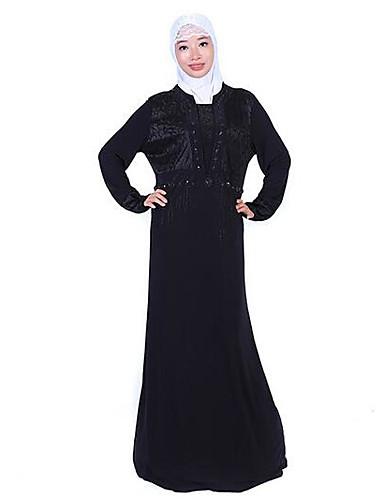 Damen Abaya Kleid-Alltag Solide Rundhalsausschnitt Maxi Langarm Polyester Herbst Mittlere Hüfthöhe Mikro-elastisch Mittel