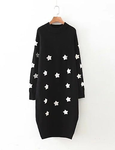 Damen Lang Pullover-Ausgehen Lässig/Alltäglich Solide Druck Rundhalsausschnitt Langarm Baumwolle Andere Mittel Dick Mikro-elastisch