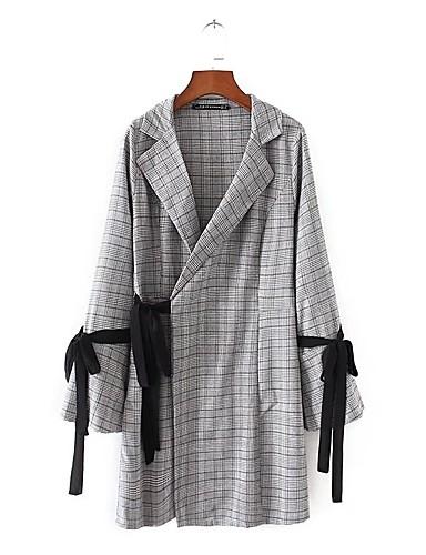 Damen Bodycon Hemd Kleid-Ausgehen Lässig/Alltäglich Hahnentrittmuster V-Ausschnitt Mini Langarm Baumwolle Andere Mittlere Hüfthöhe