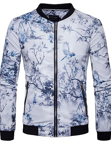 Herren Druck Einfach Lässig/Alltäglich Jacke,Ständer Frühling Herbst Langarm Standard Baumwolle Polyester