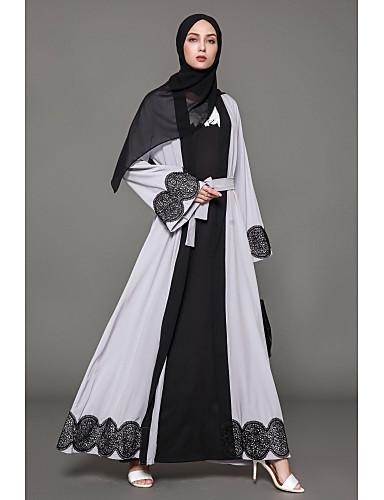 Damen Swing Kleid-Lässig/Alltäglich Solide Einfarbig Rundhalsausschnitt Knielang Langärmelige Polyester Alle Jahreszeiten Mittlere