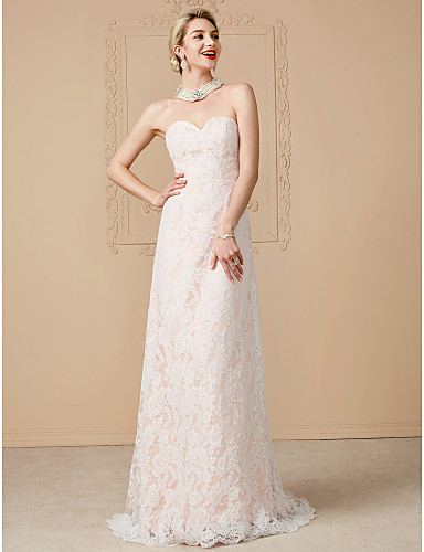 A-Line Sweetheart Neckline Sweep / Brush Train Tulle Over Lace Made-To-Measure Wedding Dresses with Sashes / Ribbons by LAN TING BRIDE® / Removable train / Wedding Dress in Color / Open Back